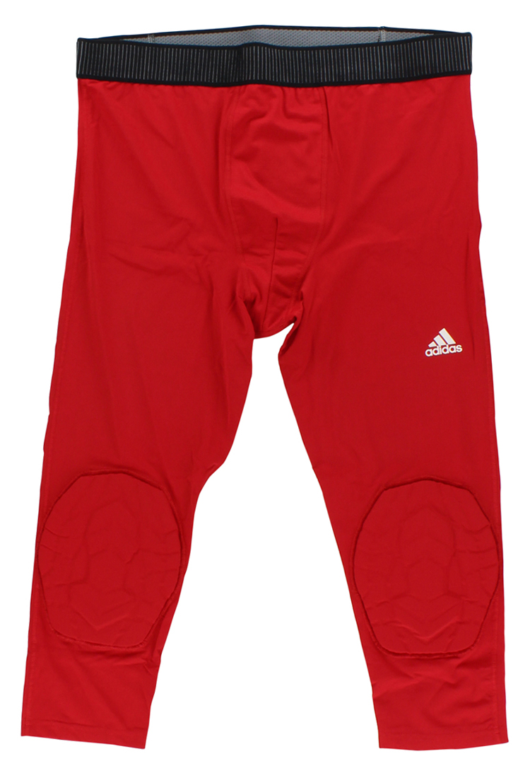Adidas Mens Techfit 3/4 Padded Compression Tight Red
