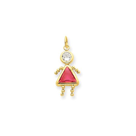 14k Yellow Gold October Girl Birthstone Pendant Charm Necklace Kid Gifts For Women For Her