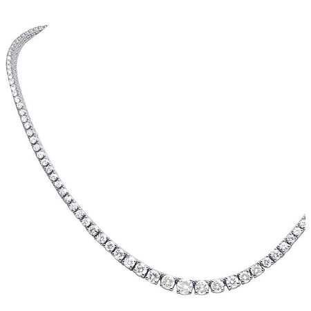 14k White Gold Diamond Graduated Eternity Tennis Necklace 10.25ct