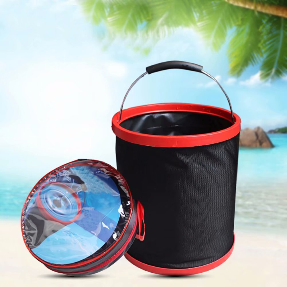 12L Outdoor Foldable Bucket, Portable Camping Hiking Fishing Collapsible Bucket Car Wash Bucket with Round Bag