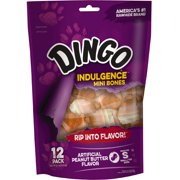 Dingo Indulgence Mini Bones, Peanut Butter Flavor Chews, 12-Count