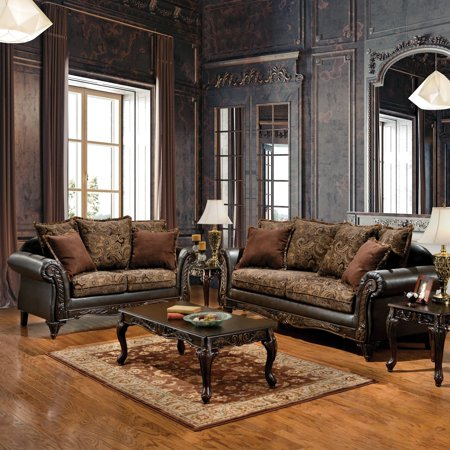 Brilliant Furniture Of America Ruthy Traditional Dark Brown Floral Gmtry Best Dining Table And Chair Ideas Images Gmtryco