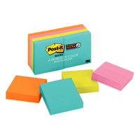 "Post-it Super Sticky Notes, 2"" x 2"", Miami Collection, 8 Pads"