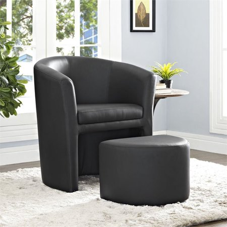 Hawthorne Collections Faux Leather Accent Chair with Ottoman in Black - image 5 of 5