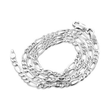 Diamond-Cut 3mm Wide Sterling Silver Figaro Chain Necklace Italian