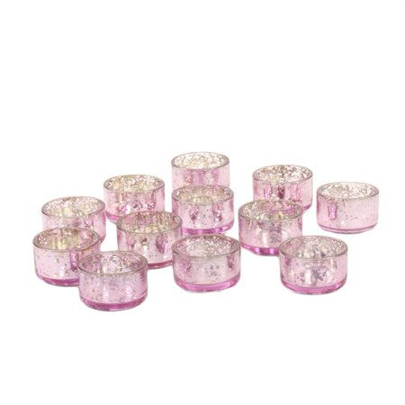 Koyal Wholesale Pink Mercury Tealight Candle Holders, 12-Pack Set, Petite Aged Vintage Glass Candle - Mercury Glass Candle Holders Wholesale