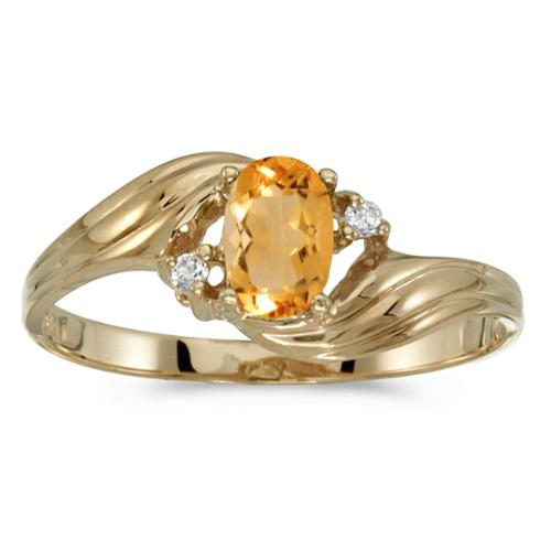 10k Yellow Gold Oval Citrine And Diamond Ring (Size 7)