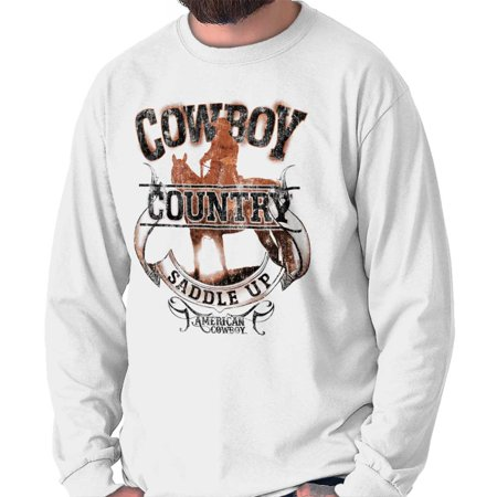 Cowboy Country Saddle Up Horse Western USA Long Sleeve T Shirt