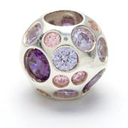 Metal Marketplace International Sterling Silver Clear, Pink and Violet Crystal Bead
