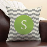 Personalized Chevron Initial Pillow, Chartreuse