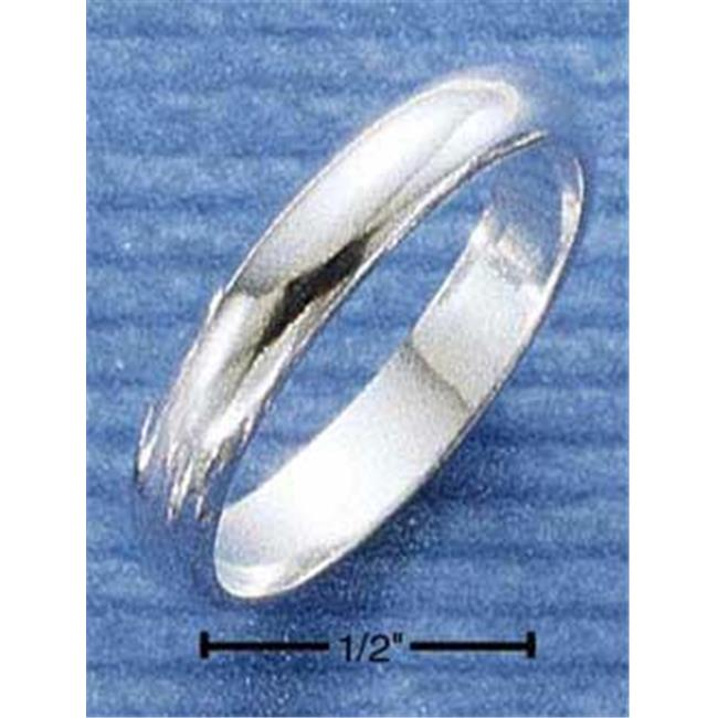 Sterling Silver 4mm High Polish Wedding Band Ring - Size 8