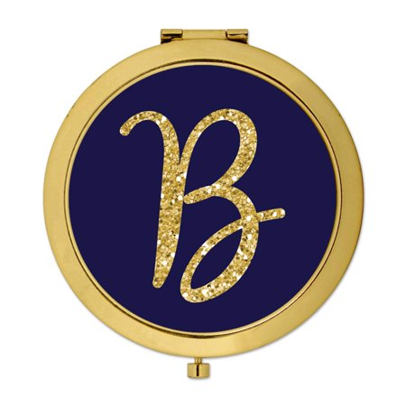 Andaz Press Gold Compact Mirror Bridesmaid's Wedding Gift, Navy Blue with Faux Gold Glitter, Monogram Letter B, 1-Pack - Gold Navy
