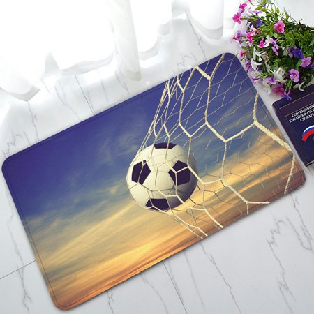 PHFZK Sports Doormat, Soccer Ball and Sunset Sky Doormat Outdoors/Indoor Doormat Home Floor Mats Rugs Size 30x18 inches 29' Soccer Ball Mat