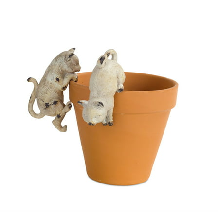 """Pack of 4 Orange and Ivory Distressed Finished Curious and Playful Cat Plant Pot Hangers 4.5"""""""