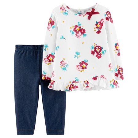 Floral Outfit Girl - Long Sleeve Floral T-Shirt & Leggins, 2-Piece Outfit Set (Toddler Girls)