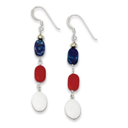 Sterling Silver Red Simulated Coral Crystal White Dyed Jade Lapis Dangle Earrings