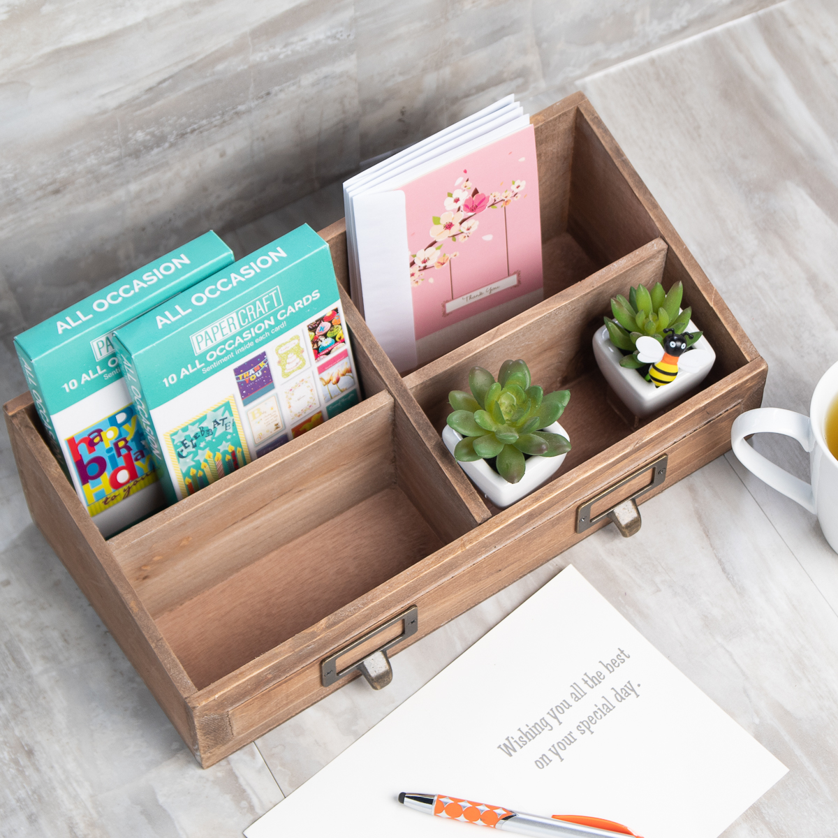Cheung's Rustic Wood Desk Organizer 4 Section Organizer