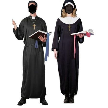 Priest And Nun Couples Religious Catholic Halloween Adult Standard Size Costume](Couples For Halloween)