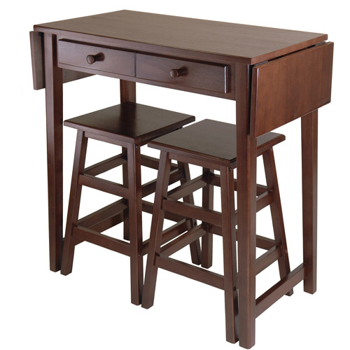 Wood Mercer Double Drop Leaf Table with 2 Stools, Cappuccino