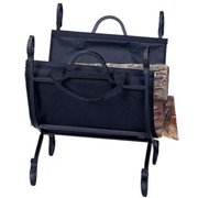 Hammered Crock Black Log Holder With Canvas Carrier Model 9474