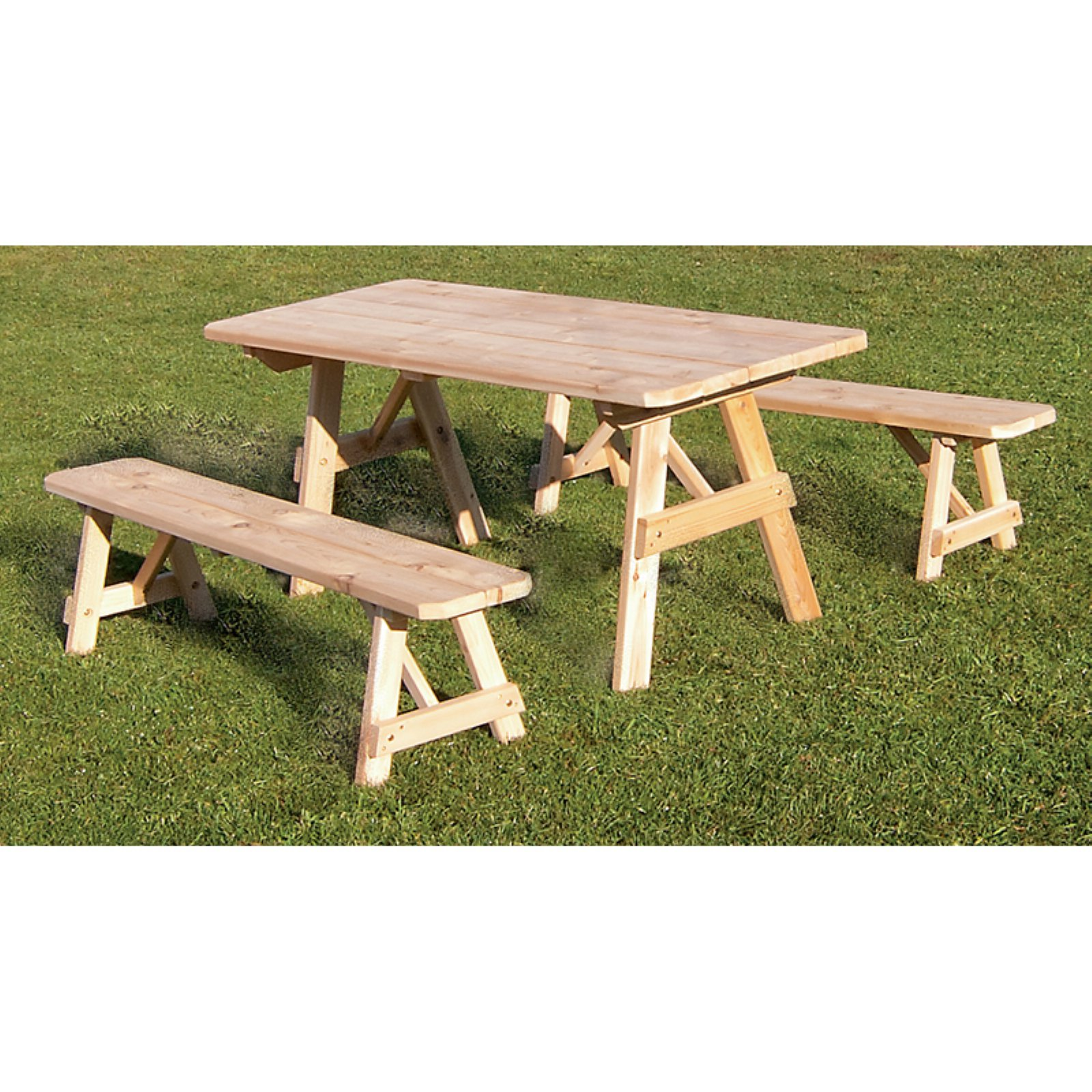 A & L Furniture Western Red Cedar Traditional Picnic Table with 2 Side Benches
