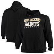 New Orleans Saints Majestic Big & Tall Stacked Pullover Hoodie - Black