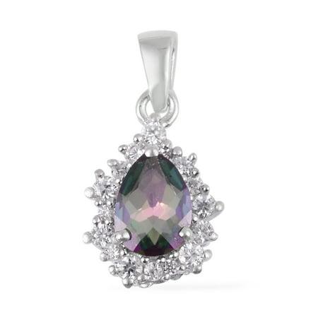 Mystic Topaz Necklace - Silver Coated Mystic Topaz White Zircon Chain Pendant Necklace 16