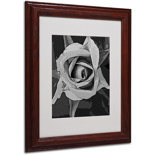 "Trademark Fine Art ""Black & White Rose"" Matted Framed Art by Patty Tuggle, Wood Frame"