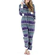 Frankie & Johnny Women's Sleepwear Fleece Onesie Pajamas