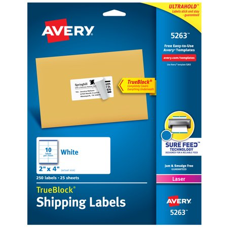 "Avery TrueBlock Shipping Labels, Sure Feed Technology, Permanent Adhesive, 2"" x 4"", 250 Labels (5263)"