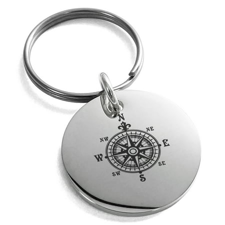 Stainless Steel Nautical Fleur de Lis Compass Engraved Small Medallion Circle Charm Keychain Keyring