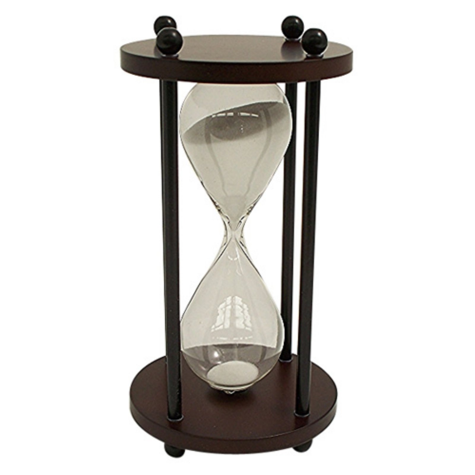 Bey Berk Walnut Wood 10 Minute Sand Timer - White Sand