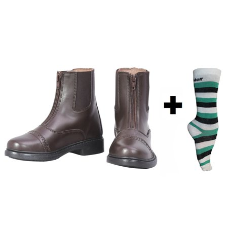 Front Zip Boots - TuffRider Children's Starter Front Zip Paddock Boots with FREE 3 Pack Boot Socks | Children's Horse Riding Equestrian Boots