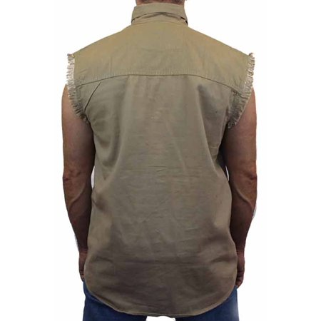 Men's Sleeveless Denim Shirt Biker Vest 2 Front Pockets Columbia Chest Pocket Vest