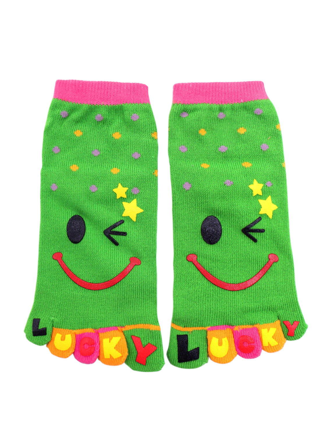 's Dots Pattern Stretchy Ankle Length Toe Socks Yellow