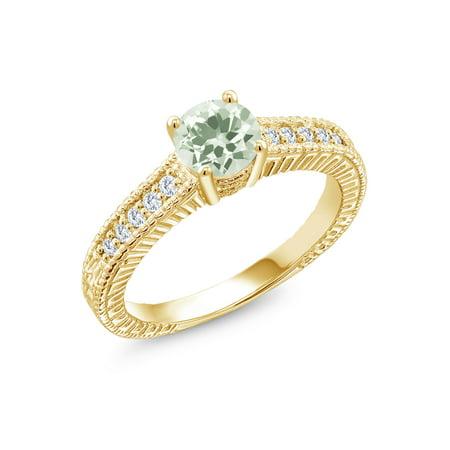 0.95 Ct Green Prasiolite G/H Lab Grown Diamond 18K Yellow Gold Plated Silver Ring