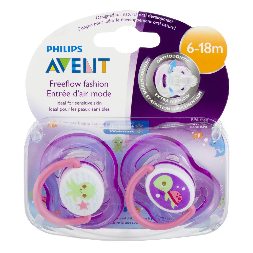 Philips Avent Freeflow Fashion Pacifier, 6-18 Months, (Color May Vary)