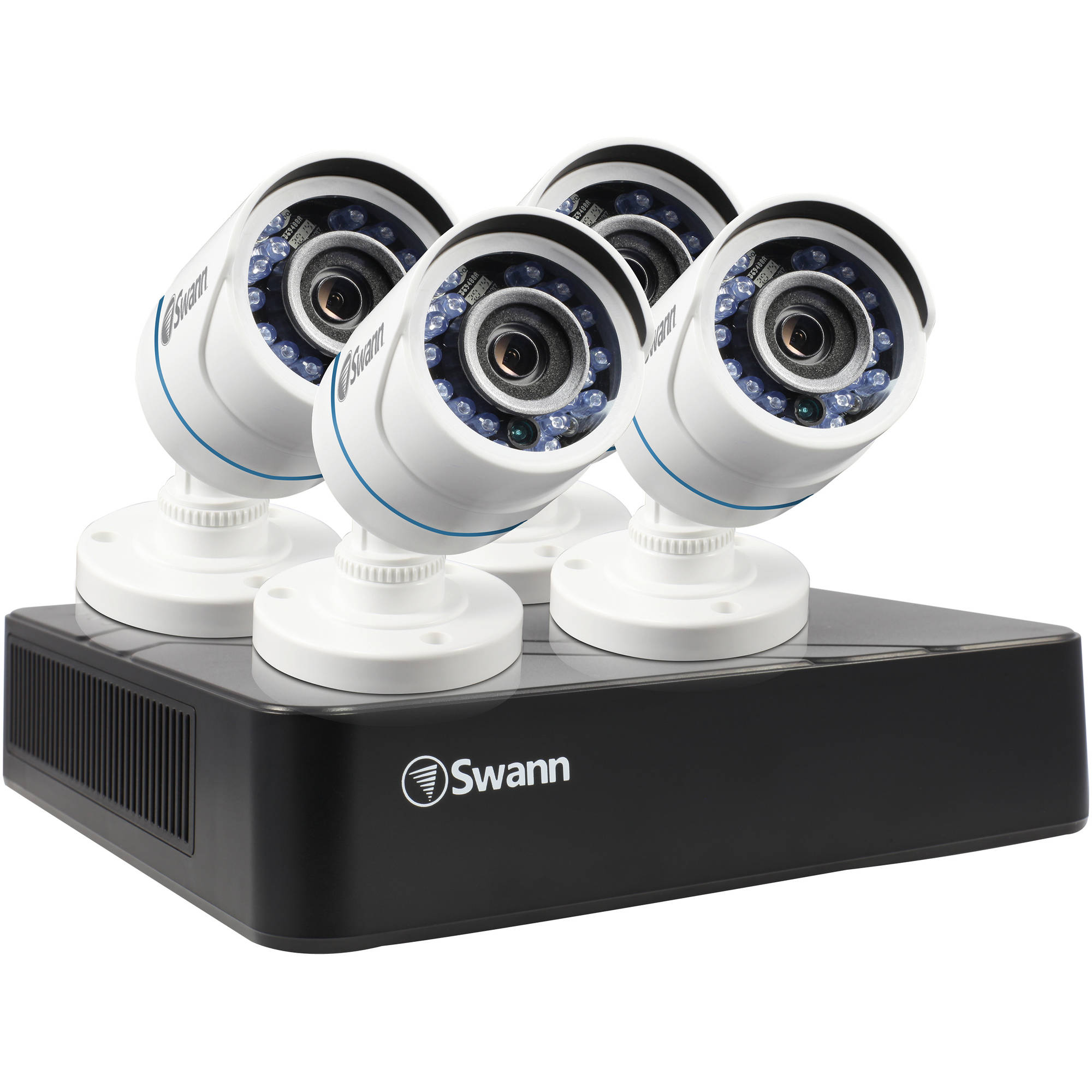 Swann 8-Channel 720A 500GB DVR with Four 720P White Bullet Cameras