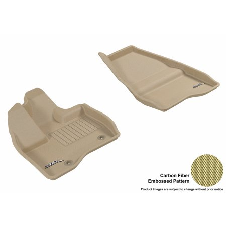 3D MAXpider 2011-2014 Ford Explorer Front Row All Weather Floor Liners in Tan with Carbon Fiber Look