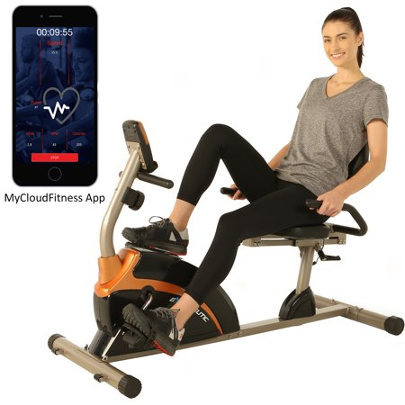 Exerpeutic 1500XL Magnetic Recumbent Exercise Bike with Bluetooth and Smart Cloud Fitness App ()