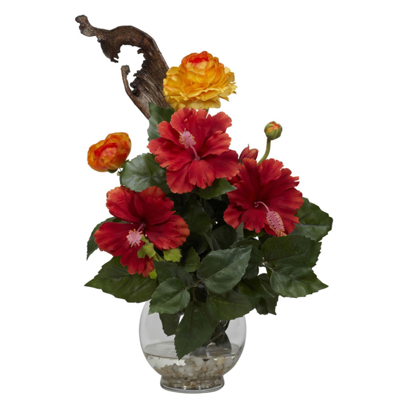 Hibiscus And Ranunculus With Fluted Bowl Silk Flower Arrangement