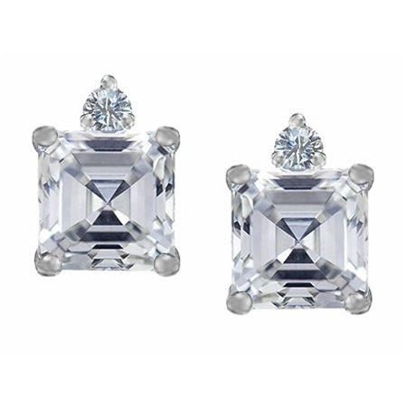 Diamond Star Earrings (Star K 7mm Square Cut Genuine White Topaz Earrings Studs in Sterling Silver)