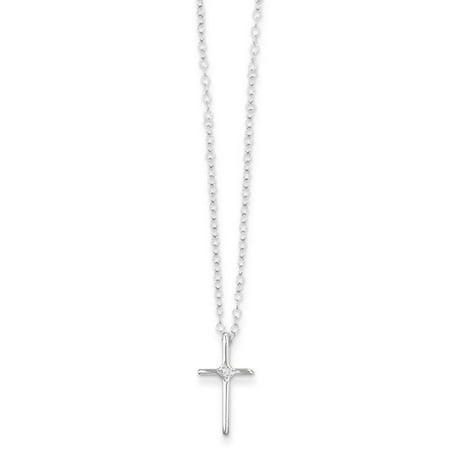 14k White Gold 15in Children S 01ct Diamond Cross Necklace