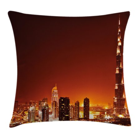 Landscape Throw Pillow Cushion Cover, Arabic Dubai Downtown with Cityscape Skyscrapers Sunset Middle East City Photo, Decorative Square Accent Pillow Case, 16 X 16 Inches, Multicolor, by Ambesonne