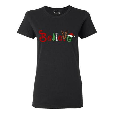 Christmas Shirt Believe Santa Claus Reindeer Womens T-Shirt Top