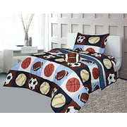 Golden Linens Twin Size 6 Pieces Printed Navy Blue, Sky Blue, Brown, Orange Kids Sports Basketball Football Baseball Comforter/ Coverlet / Bed in Bag Set with Decorative Cushion Toy Pillow # 02- 6 Pcs