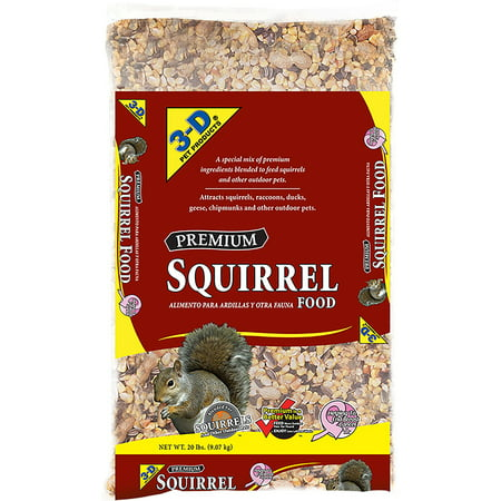 3-D Pet Products Premium Dry Squirrel Food, 20 lbs. (Hamster Pet Food)