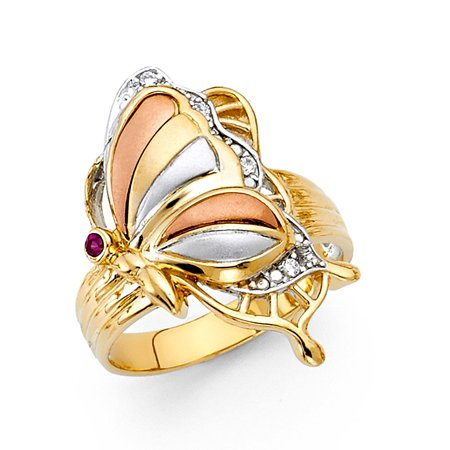 (Butterfly Ring Solid 14k Yellow White Rose Gold Band CZ Stylish Polished & Satin Finish Fancy)