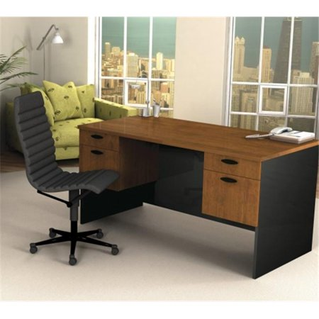 Bestar 69400-63 Hampton executive desk in Tucany Brown & Black finish Brown Tuscany Corner Workstation