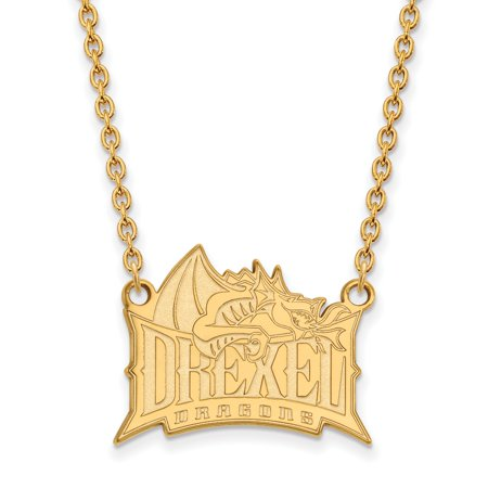 Roy Rose Jewelry Sterling Silver With 14K Yellow Gold Plated Logoart Drexel University Large Pendant Necklace